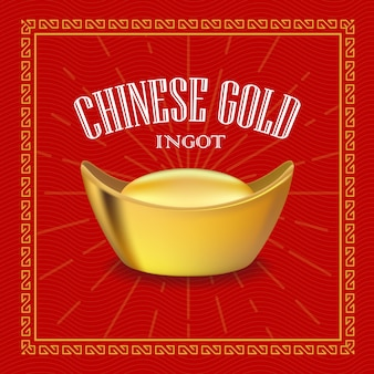 Chinese goudstaaf realistische illustratie
