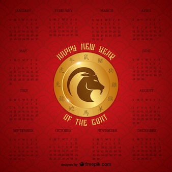 Chinese jaar van de geit kalender