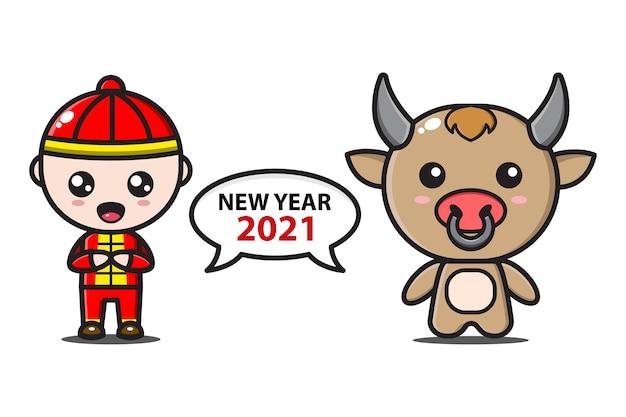 Chinese jongen en schattige os zeggen nieuwjaar