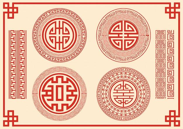 Chinese kaderstijl op rode achtergrond.