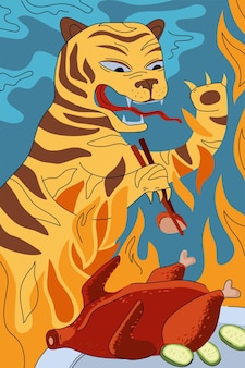 Chinese keuken pekingeend poster concept china nationale vuurtijger eten met geroosterde eetstokjes