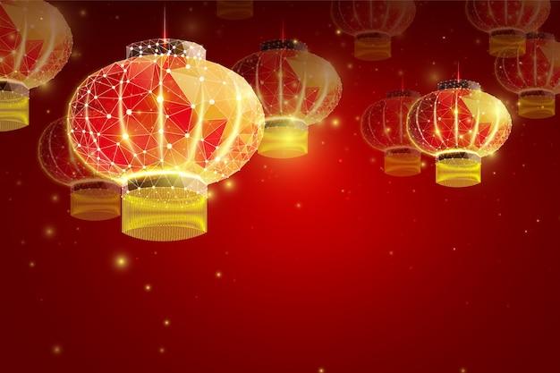 Chinese lantaarn. chinees nieuwjaar in futuristische stijl.