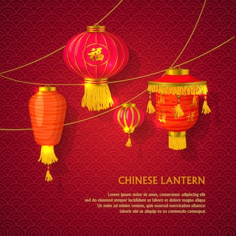 Chinese lantaarns geplaatst concept