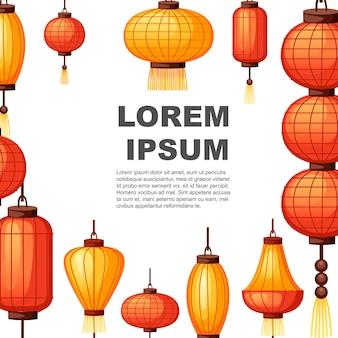 Chinese lantaarns in verschillende vormsjabloon