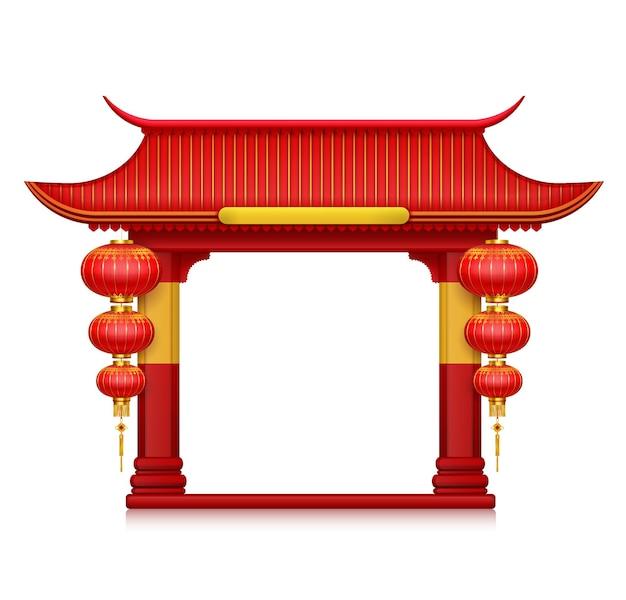 Chinese lantaarns op poort