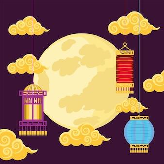 Chinese maan en lantaarns