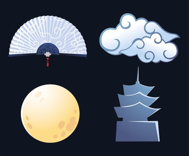 Chinese maan met wolken