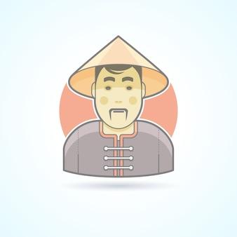 Chinese man in traditionele doek icoon. avatar en persoon illustratie. gekleurde geschetste stijl.