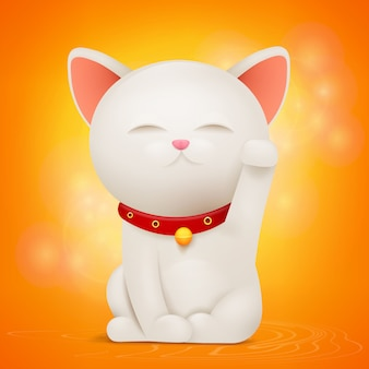 Chinese maneki neko lucky cat stripfiguur.