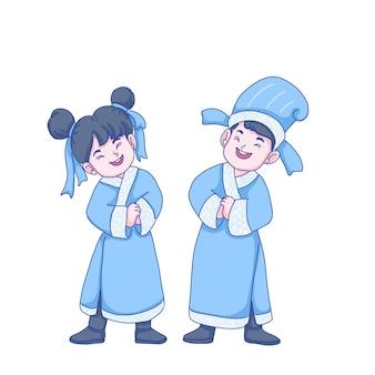 Chinese mensen character design. chinese kinderen groeten.