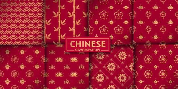 Chinese naadloze patronen vector set bloemen marine geometrische textuur lotus bamboe zee golven