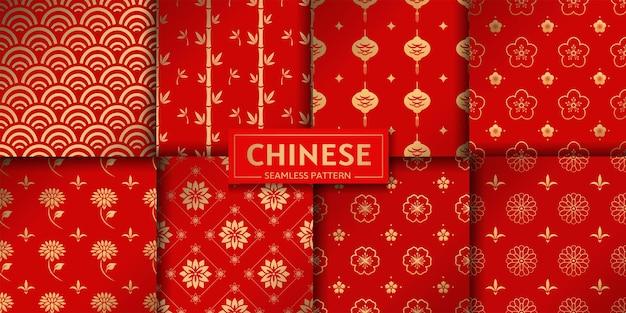 Chinese naadloze patroon vector set bloemen marine geometrische texturen lotus bamboe zee golven