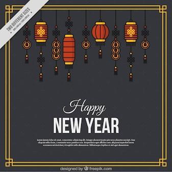Chinese nieuwe jaar achtergrond met minimalistische lantaarns