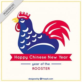 Chinese nieuwe jaar rode en blauwe haan achtergrond