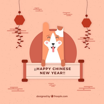 Chinese nieuwe jaarachtergrond met gelukkige hond