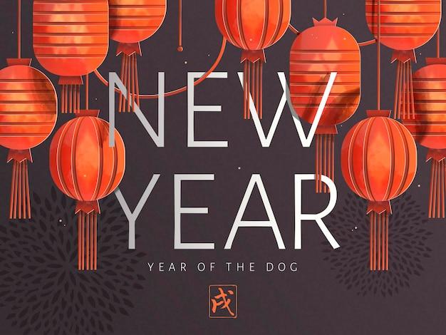 Chinese nieuwjaarskunst, elegante rode lantaarns die in de lucht hangen met chrysantenachtergrond
