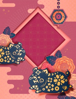 Chinese nieuwjaarsstijlachtergrond met vliegend varkentje en pioenroospatroon in papierkunststijl