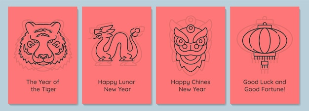 Chinese nieuwjaarsviering ansichtkaarten met lineaire glyph icon set. wenskaart met decoratief vectorontwerp. eenvoudige stijlposter met creatieve lineartillustratie. flyer met vakantiewens