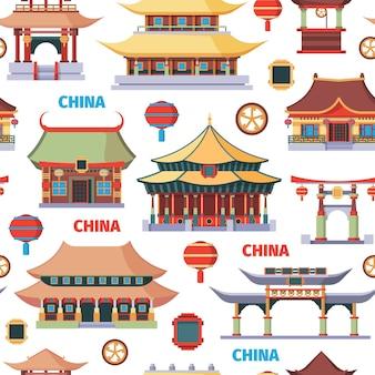 Chinese oosterse architectuur naadloze patroon illustratie