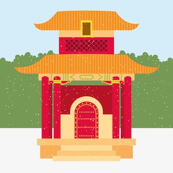 Chinese pagode illustratie