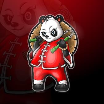 Chinese panda mascotte voor gaming-logo.