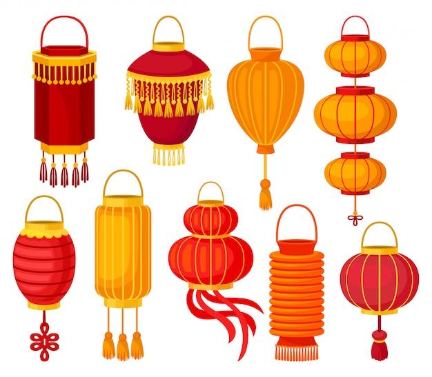 Chinese papieren straatlantaarn van verschillende vormen, decoratieve elementen voor feestelijke illustraties op een witte achtergrond