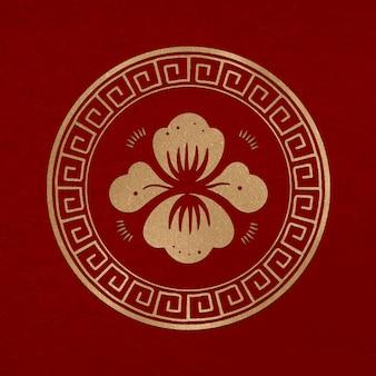 Chinese pioenbloem badge vector goud nieuwjaar ontwerpelement