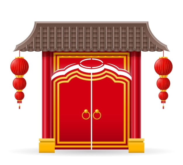 Chinese poort om een tempel of pagode binnen te gaan met kolommen en een dak vectorillustratie geïsoleerd op background