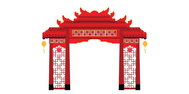Chinese poortarchitectuur die op witte achtergrond wordt geïsoleerd. illustratie.