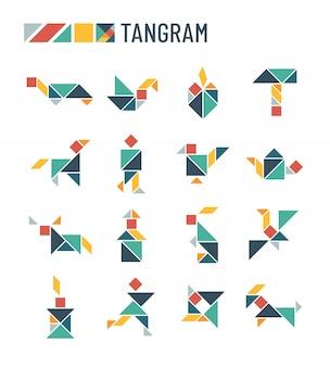 Chinese puzzelvormen die intellectueel kinderspel snijden - tangram origami-set
