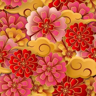 Chinese roze rood gouden bloem en spiraalvormige wolk naadloze patroon achtergrond.