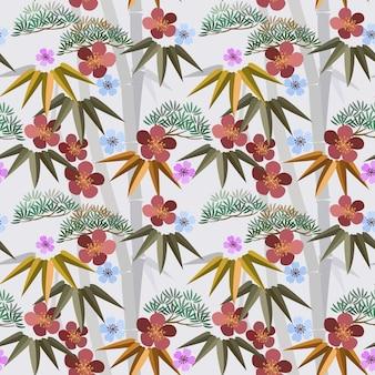 Chinese stijlbloemen met bamboe naadloos patroon.