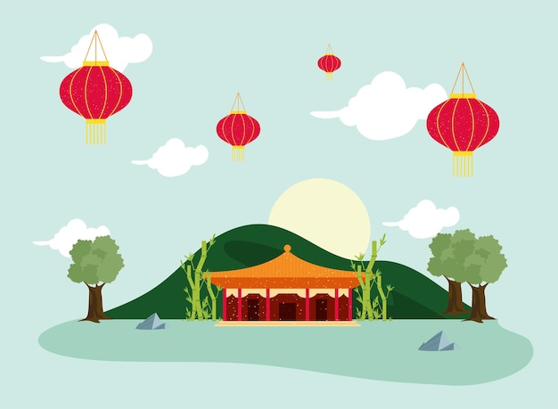 Chinese tempelgevel in landschap