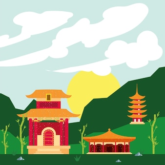 Chinese tempels in landschap