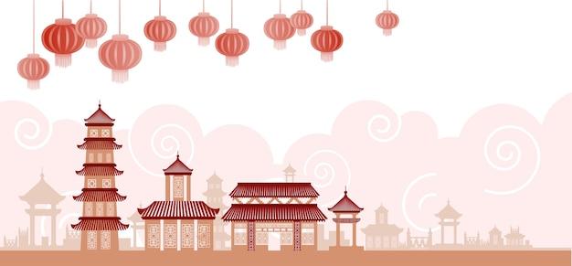 Chinese traditionele abstracte gebouwen
