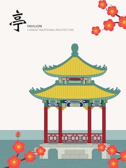 Chinese traditionele architectuur bouwpaviljoen op de bloesem van de waterpruim