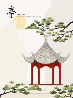 Chinese traditionele architectuur gebouw paviljoen zonsondergang pijnboom