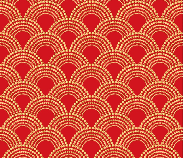Chinese traditionele oosterse ornamentachtergrond, rood met gouden patroon tenzij.