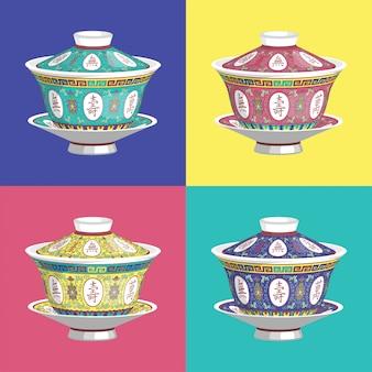 Chinese traditionele theekop met deksel vector