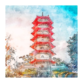 Chinese tuinen singapore aquarel schets hand getrokken illustratie