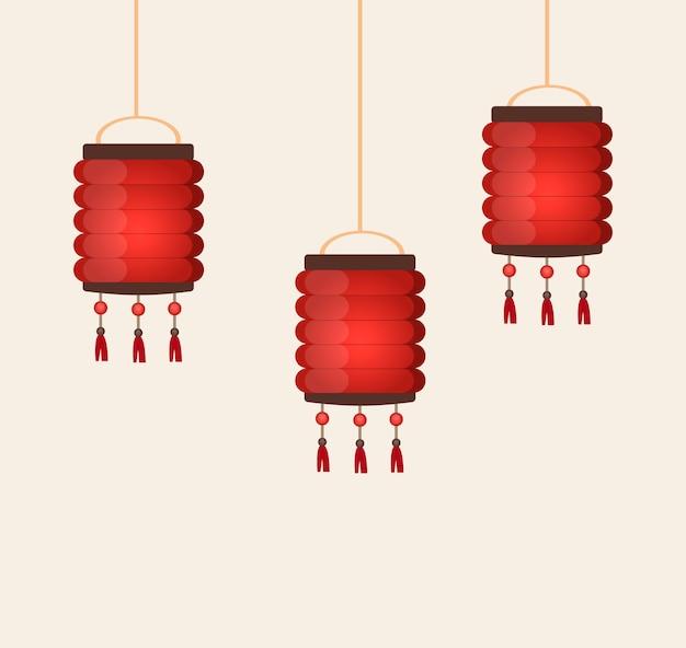 Chinese van de de cultuurfestival van lantaarn traditionele china oosterse de decoratieillustratie van azië