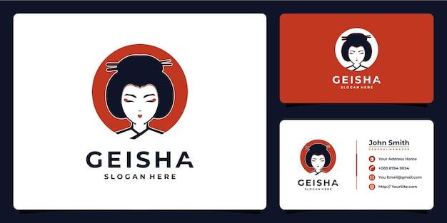 Chinese vrouw schoonheid logo ontwerp en visitekaartje