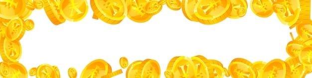 Chinese yuan munten vallen. stijlvolle verspreide cny-munten. chinees geld. waardevolle jackpot, rijkdom of succesconcept. vector illustratie.