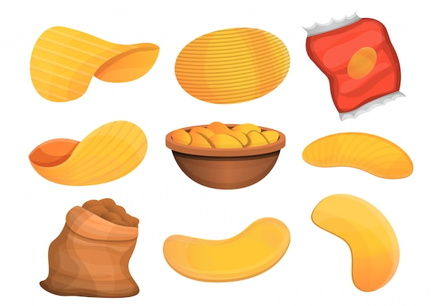 Chips aardappel icon set, cartoon stijl