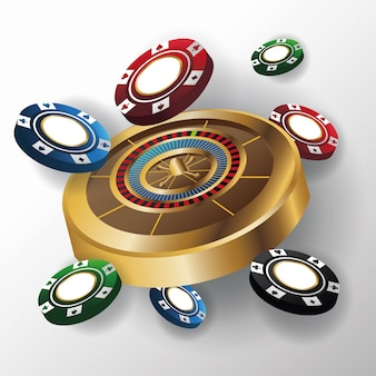 Chips en roulette pictogram. poker casino en las vegas thema.