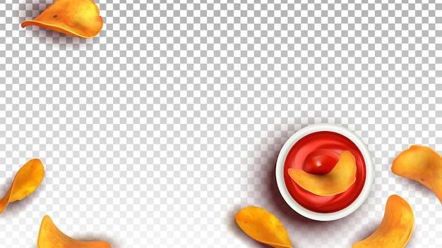 Chips gebakken aardappel snack dip in ketchup vector