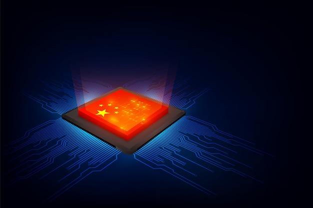Chips over digitale achtergrond met de vlag van china