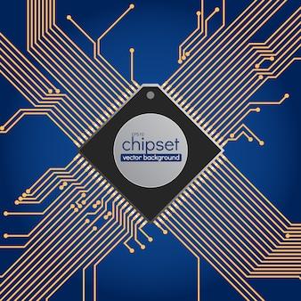 Chipset circuit achtergrond, blauwe en gouden kleuren