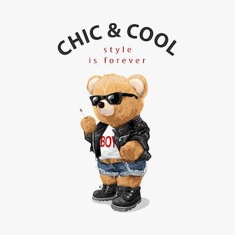 Chique en coole slogan met coole berenpop met sigaret
