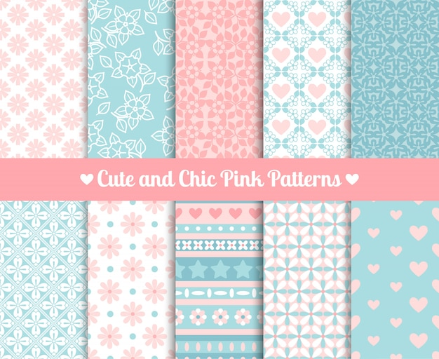 Chique roze en blauwe patronen